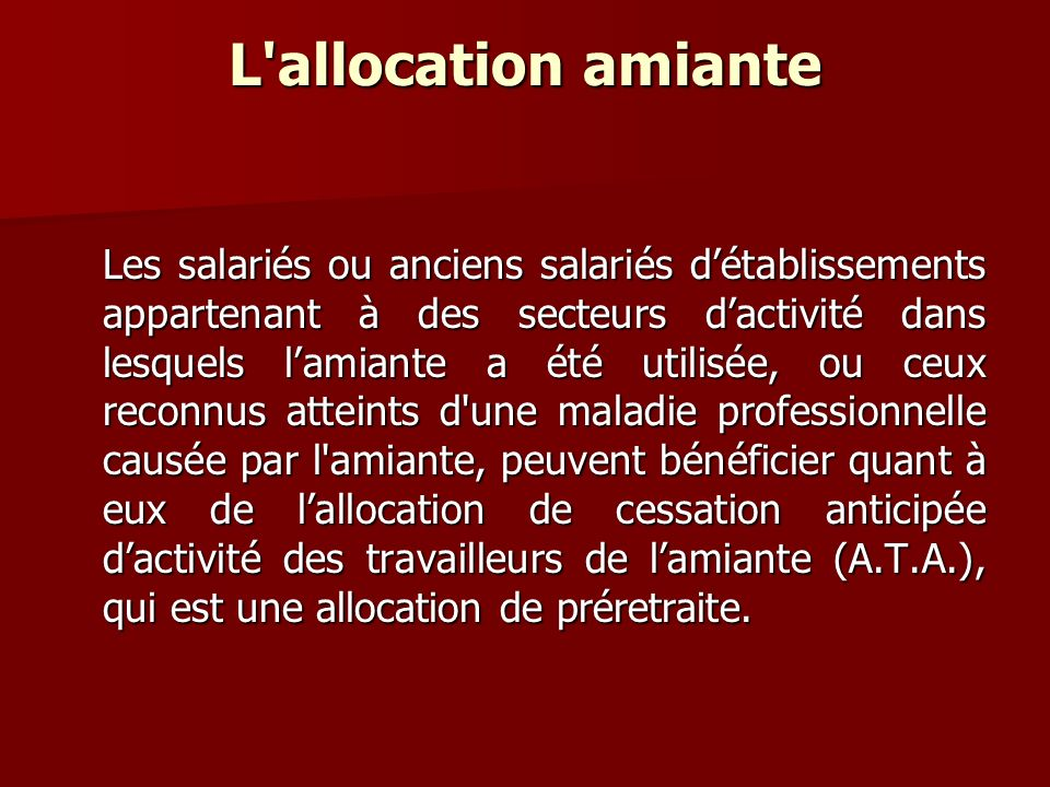 L allocation amiante