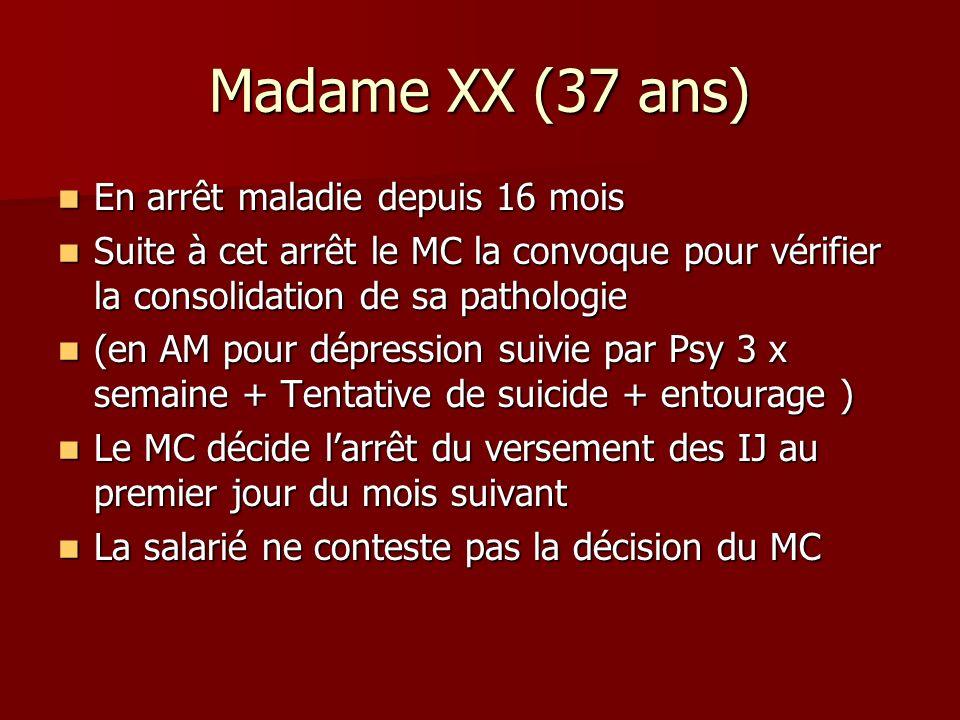 Madame XX (37 ans) En arrêt maladie depuis 16 mois