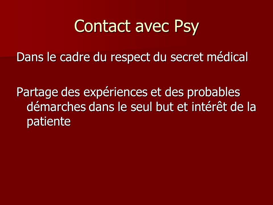 Contact avec Psy Dans le cadre du respect du secret médical
