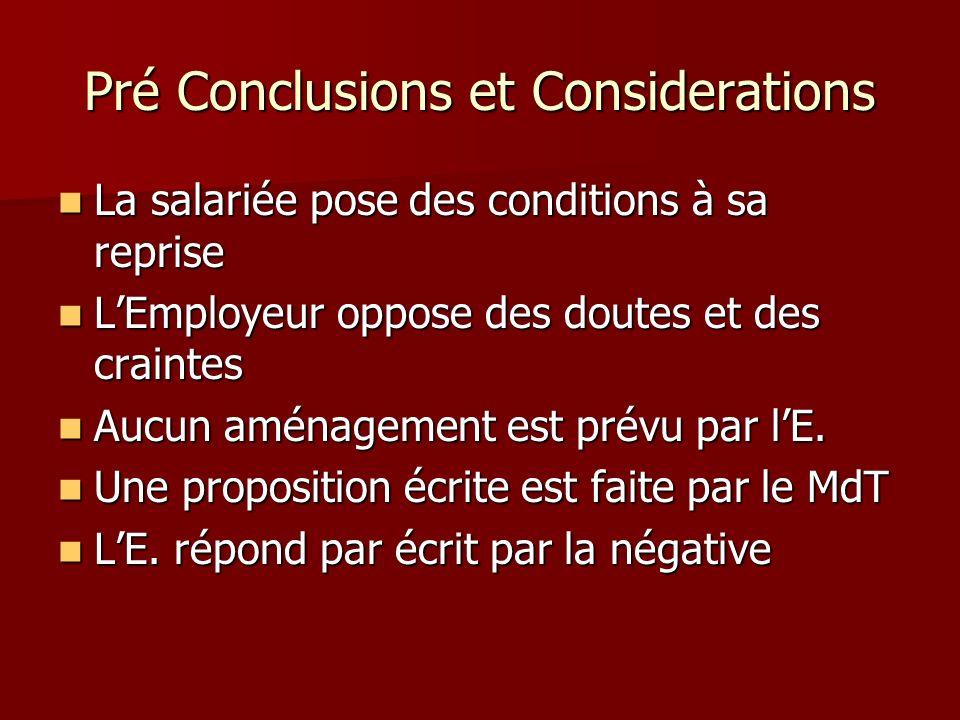 Pré Conclusions et Considerations