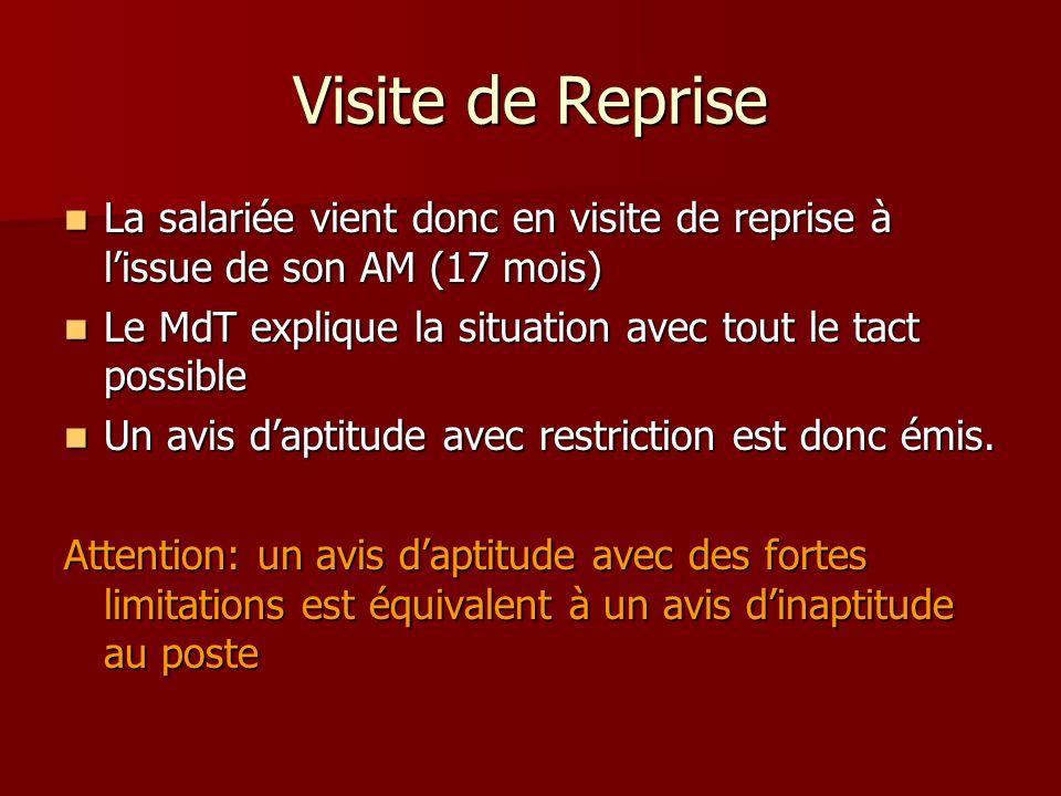 Visite de Reprise La salariée vient donc en visite de reprise à l'issue de son AM (17 mois) Le MdT explique la situation avec tout le tact possible.