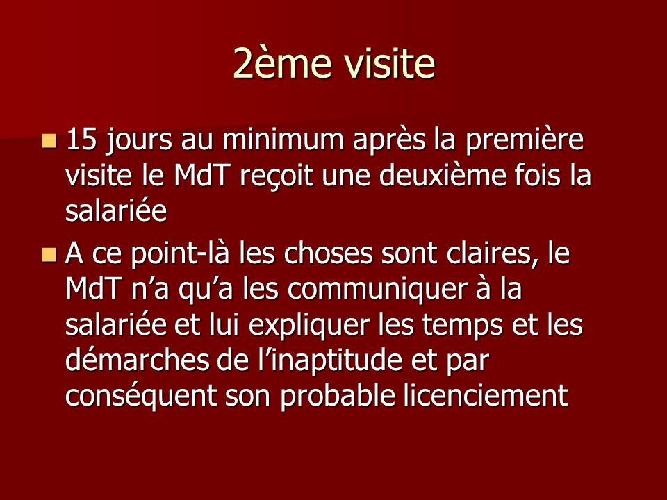 2ème visite 15 jours au minimum après la première visite le MdT reçoit une deuxième fois la salariée.