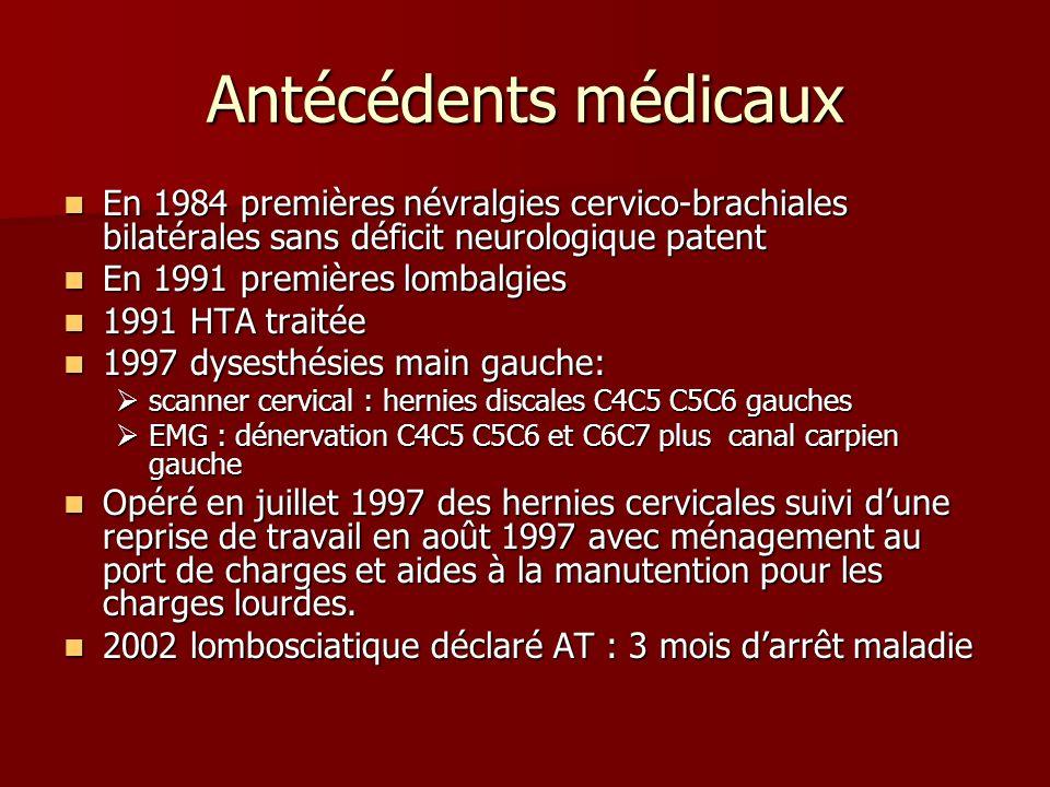 Antécédents médicaux En 1984 premières névralgies cervico-brachiales bilatérales sans déficit neurologique patent.