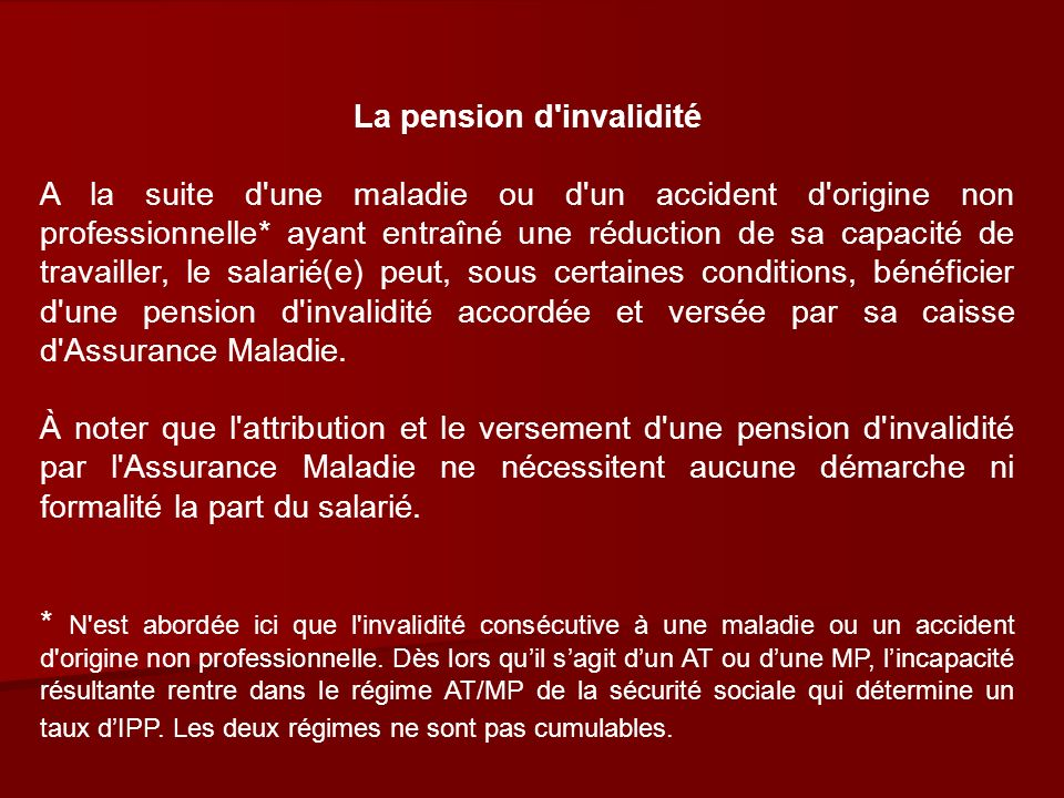 La pension d invalidité