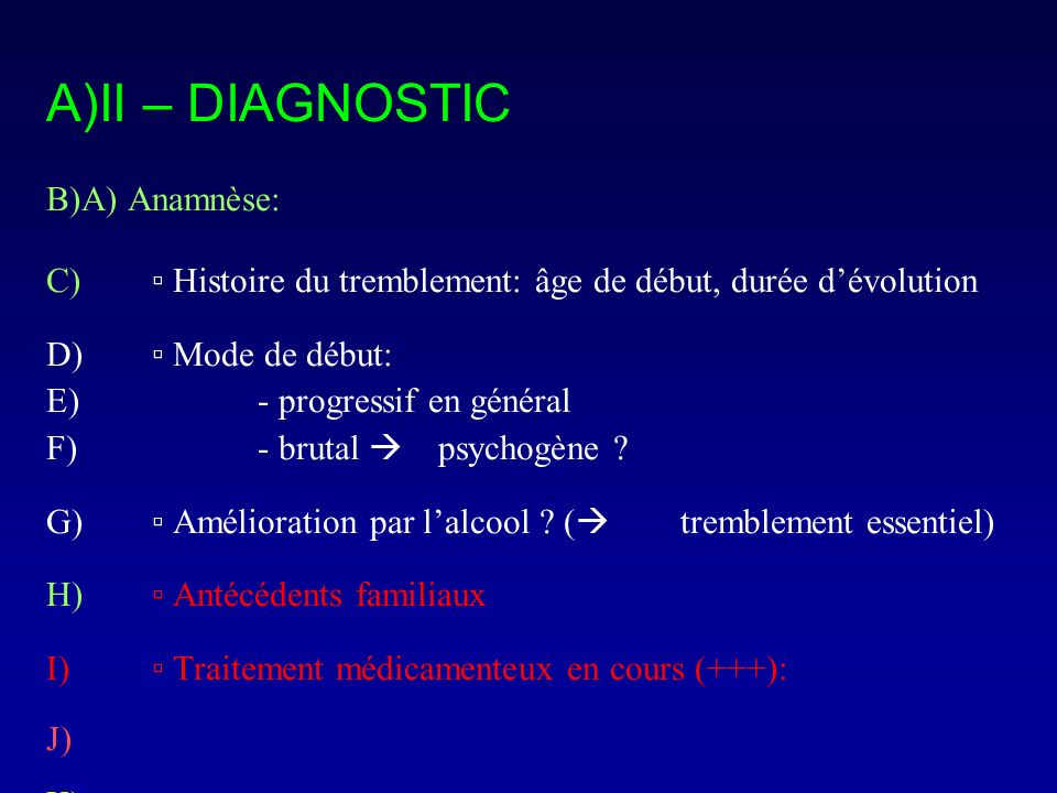 II – DIAGNOSTIC A) Anamnèse:
