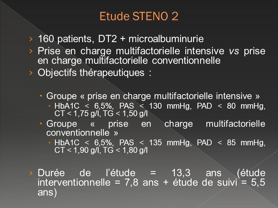 Etude STENO 2 160 patients, DT2 + microalbuminurie