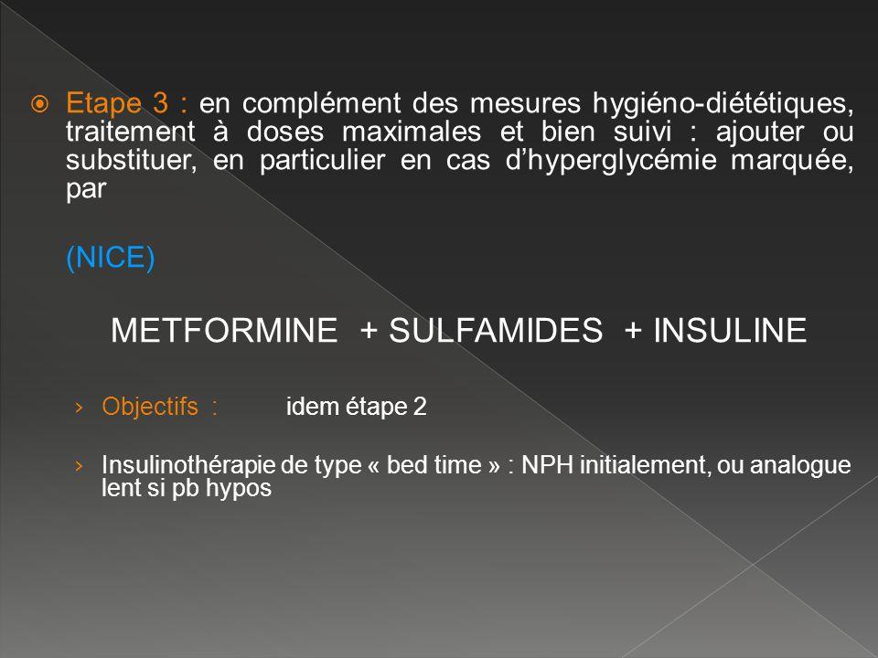 Etape 3 : en complément des mesures hygiéno-diététiques, traitement à doses maximales et bien suivi : ajouter ou substituer, en particulier en cas d'hyperglycémie marquée, par