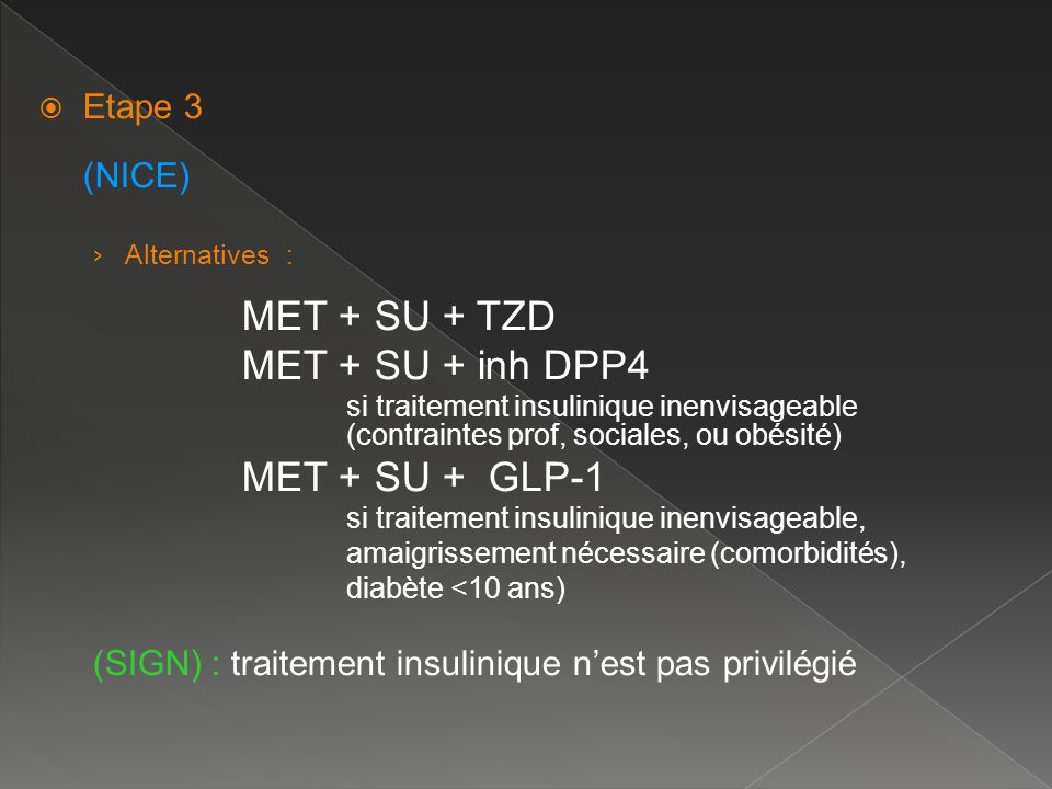 Etape 3 (NICE) Alternatives : MET + SU + TZD. MET + SU + inh DPP4.