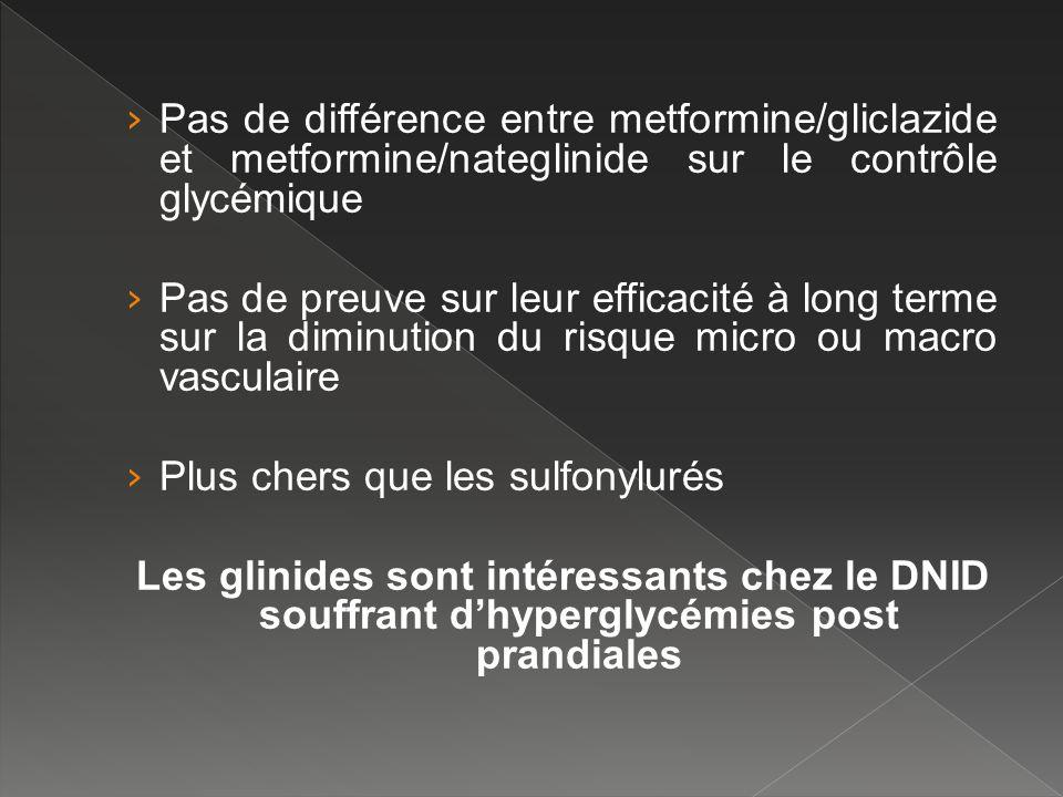 Pas de différence entre metformine/gliclazide et metformine/nateglinide sur le contrôle glycémique
