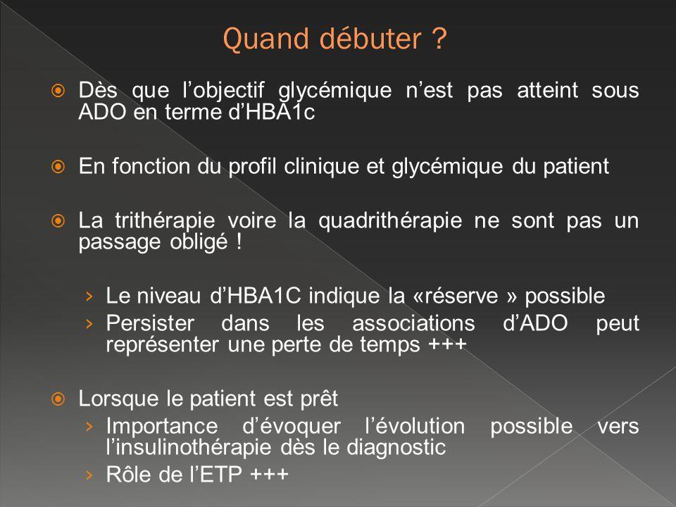 Quand débuter Dès que l'objectif glycémique n'est pas atteint sous ADO en terme d'HBA1c. En fonction du profil clinique et glycémique du patient.