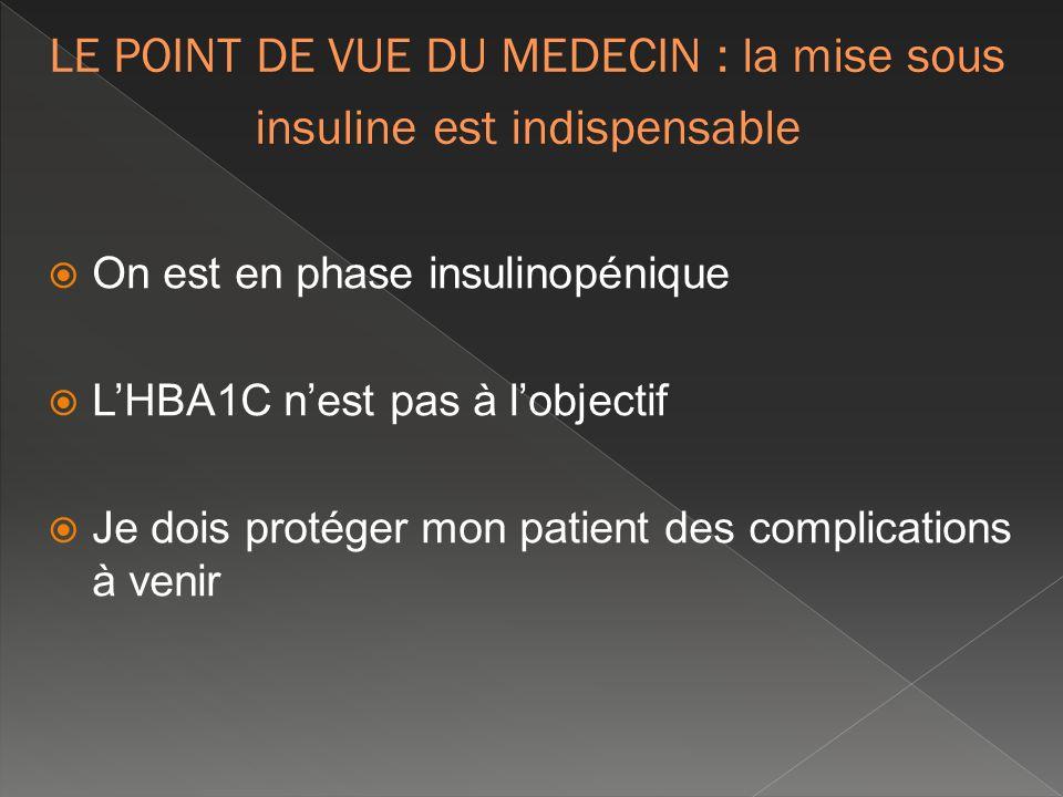 LE POINT DE VUE DU MEDECIN : la mise sous insuline est indispensable