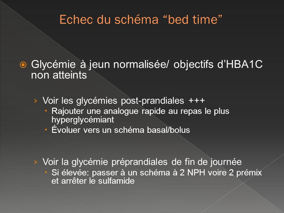 Echec du schéma bed time