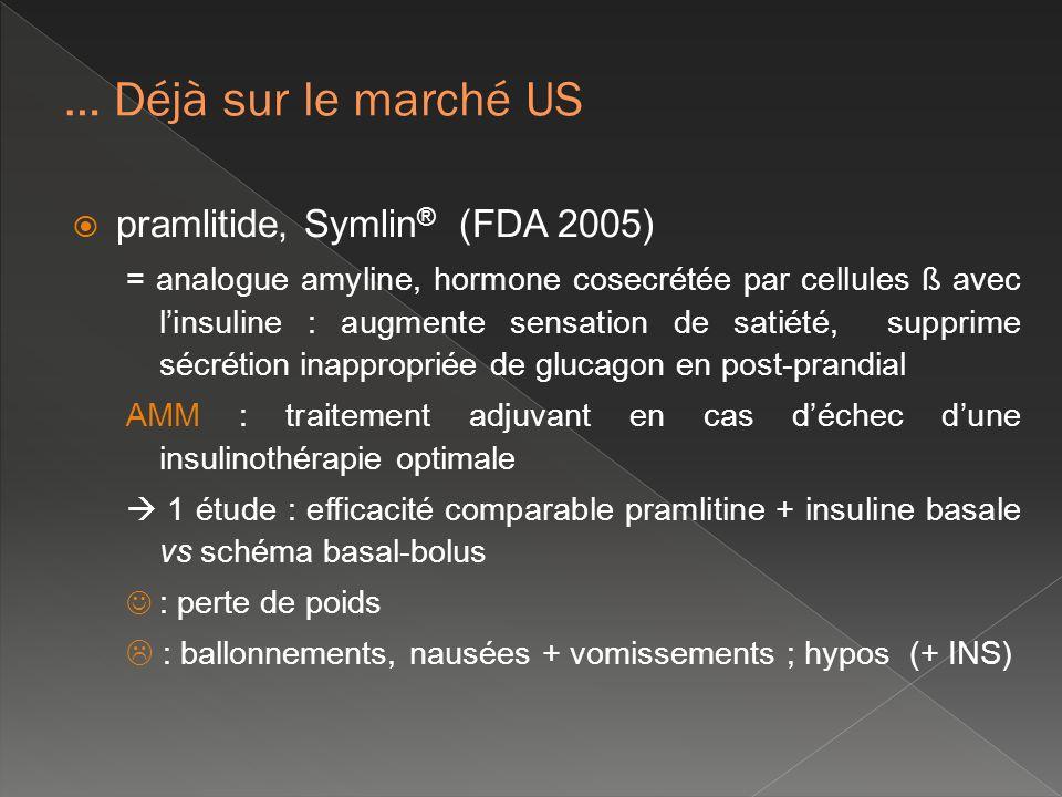 … Déjà sur le marché US pramlitide, Symlin® (FDA 2005)