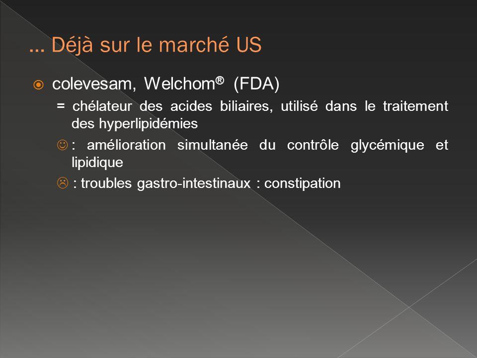… Déjà sur le marché US colevesam, Welchom® (FDA)