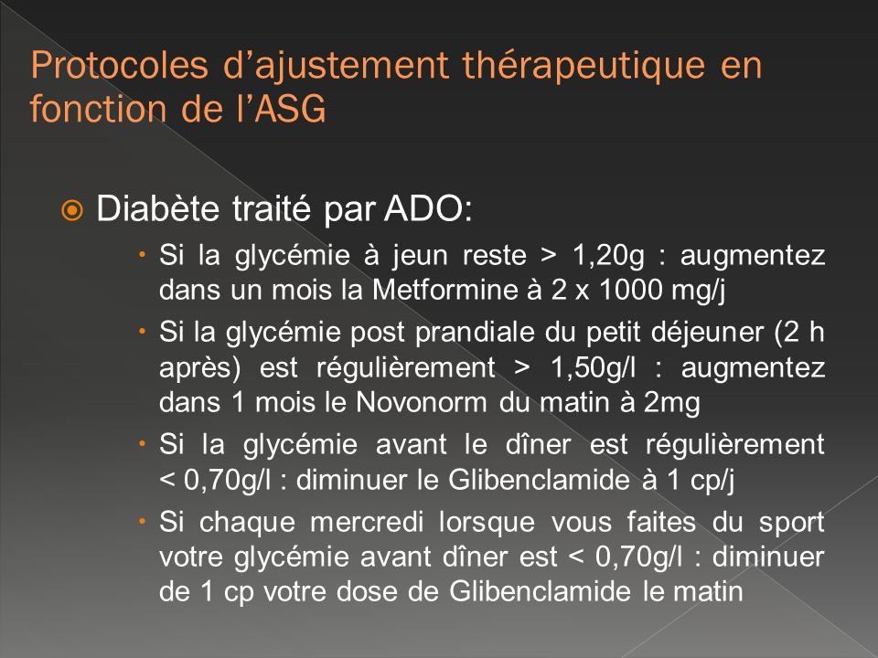 Protocoles d'ajustement thérapeutique en fonction de l'ASG
