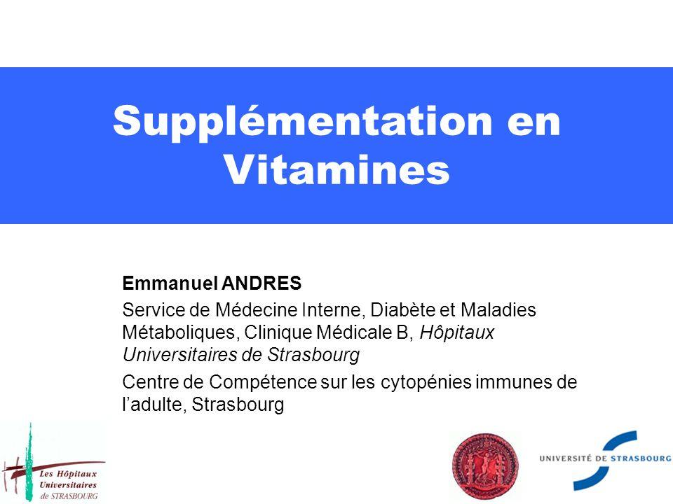 Supplémentation en Vitamines