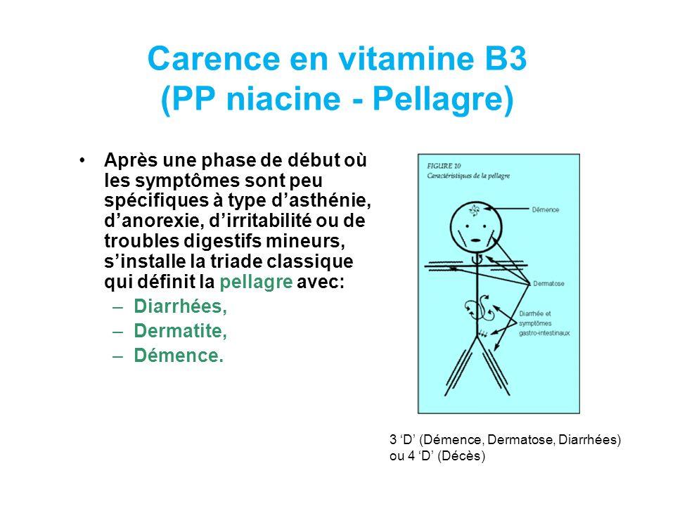 Carence en vitamine B3 (PP niacine - Pellagre)