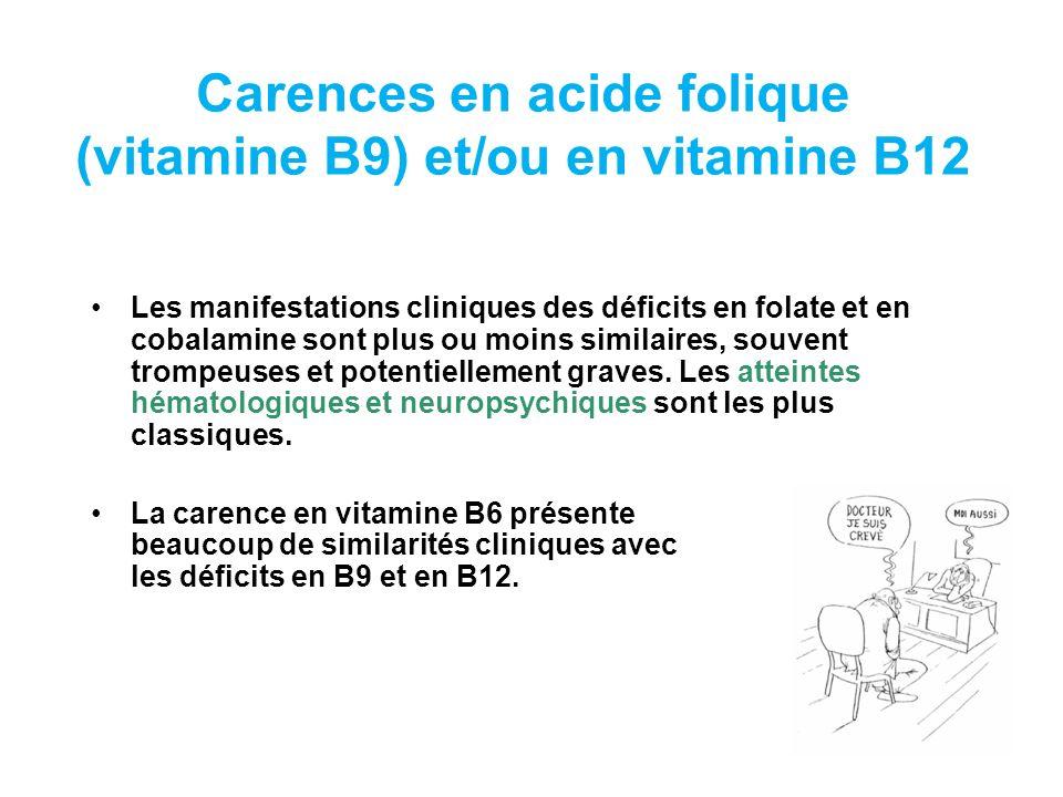 Carences en acide folique (vitamine B9) et/ou en vitamine B12
