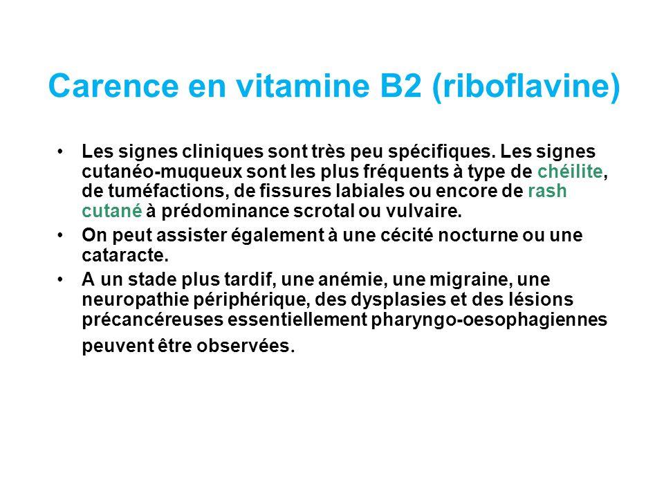 Carence en vitamine B2 (riboflavine)
