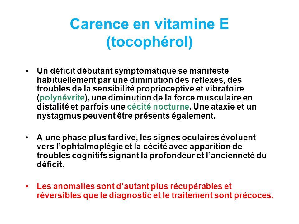 Carence en vitamine E (tocophérol)