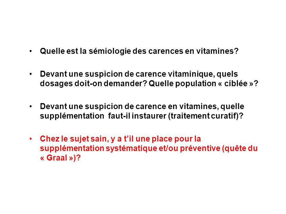 Quelle est la sémiologie des carences en vitamines
