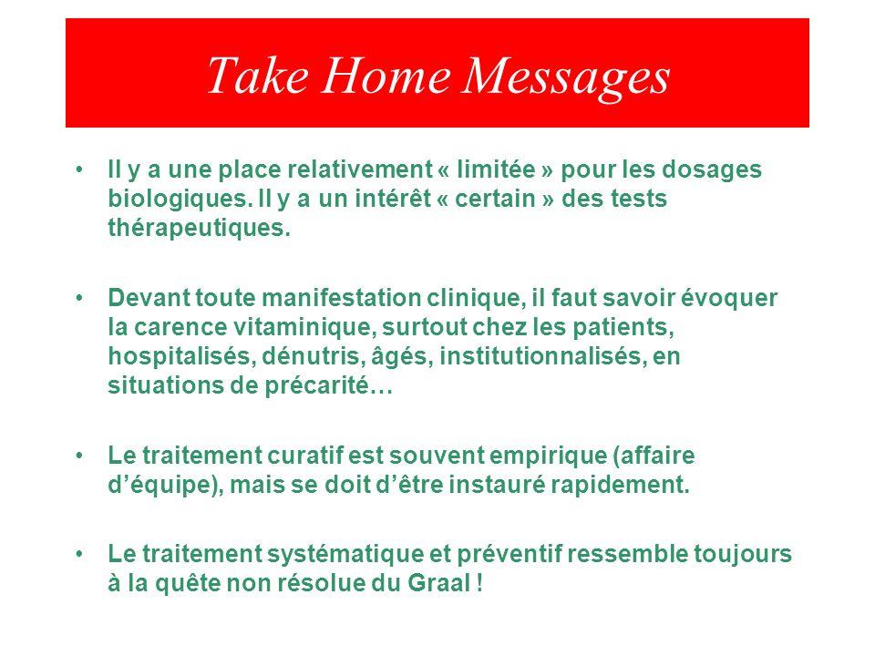 Take Home Messages Il y a une place relativement « limitée » pour les dosages biologiques. Il y a un intérêt « certain » des tests thérapeutiques.