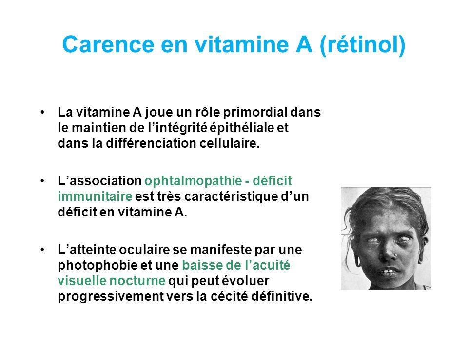Carence en vitamine A (rétinol)