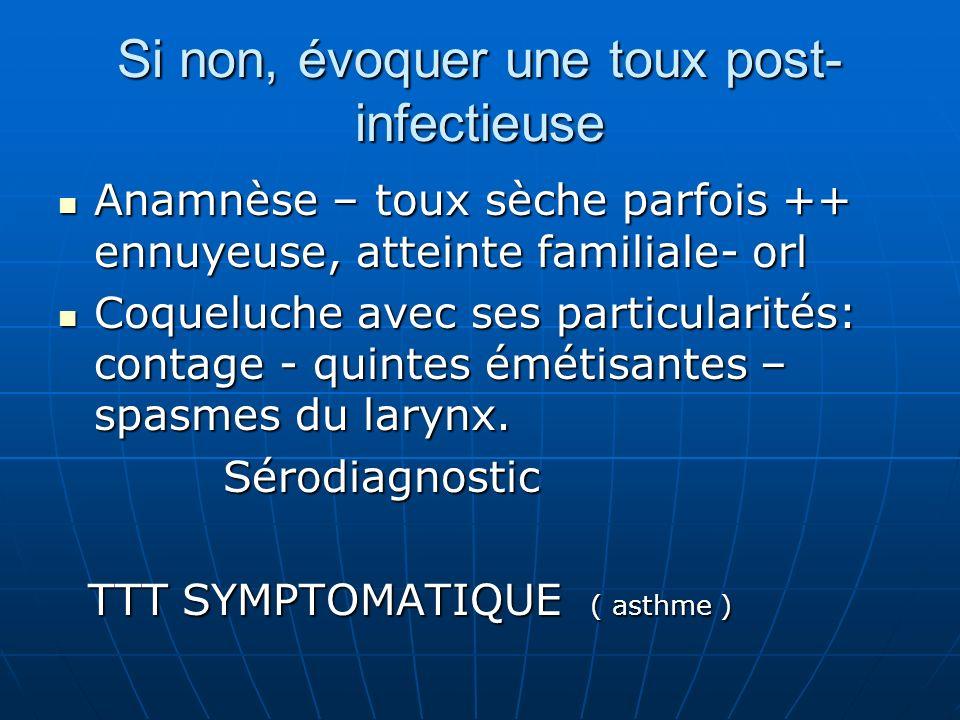 Si non, évoquer une toux post-infectieuse