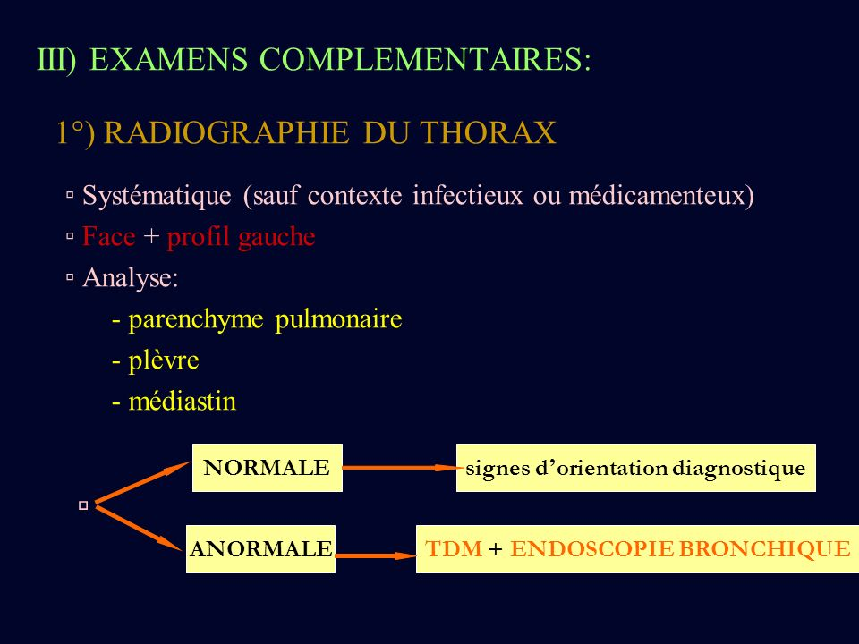 signes d'orientation diagnostique TDM + ENDOSCOPIE BRONCHIQUE