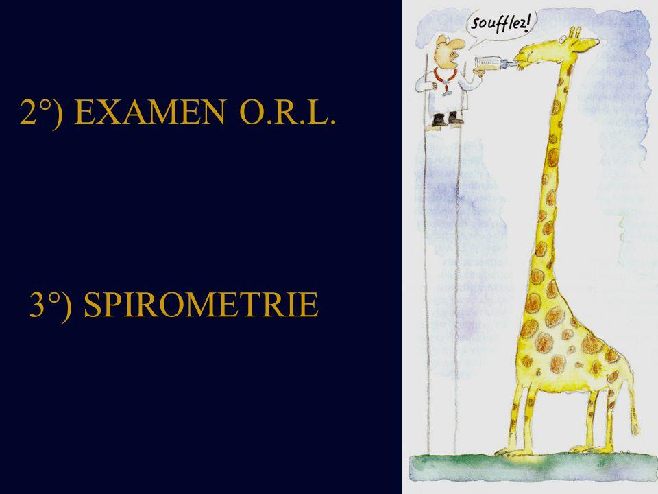 2°) EXAMEN O.R.L. 3°) SPIROMETRIE
