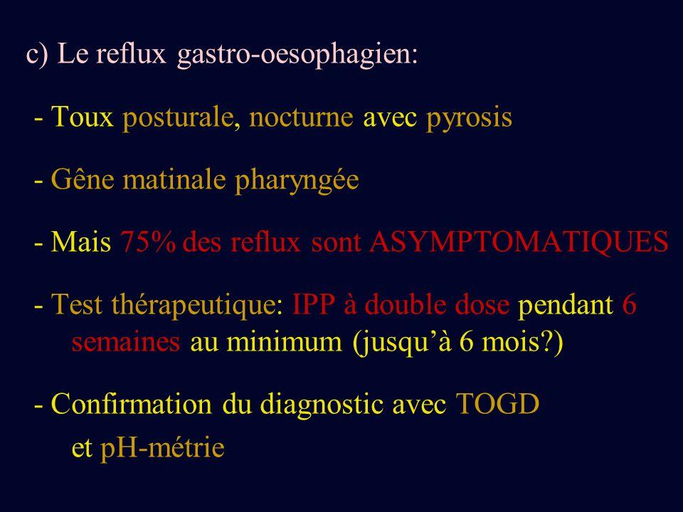 c) Le reflux gastro-oesophagien: