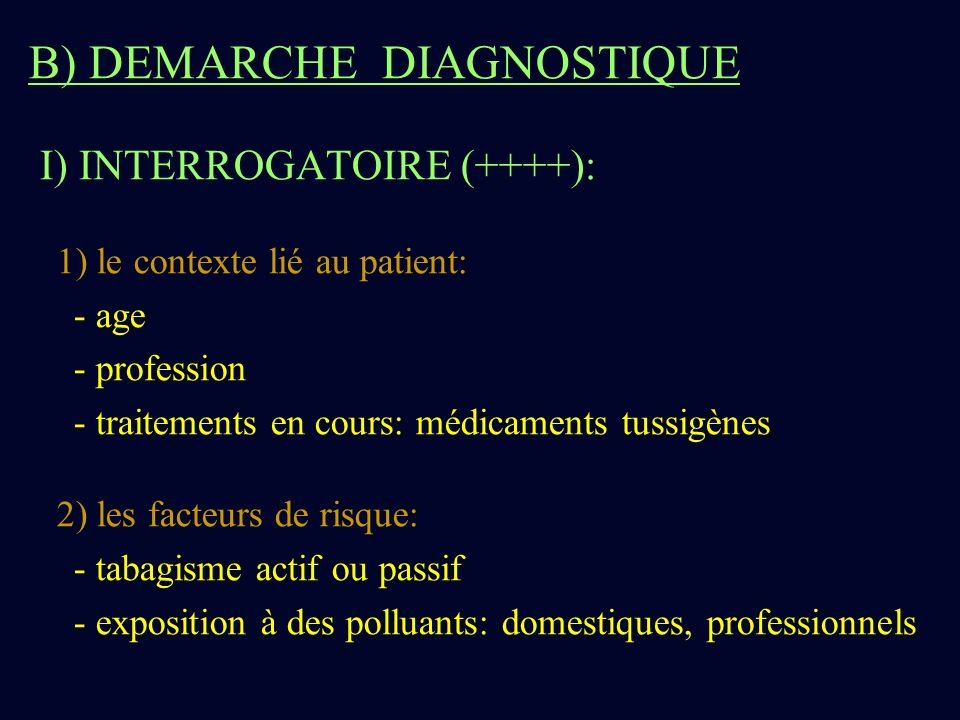 B) DEMARCHE DIAGNOSTIQUE