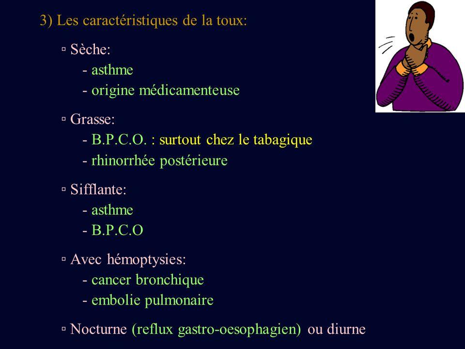 3) Les caractéristiques de la toux: