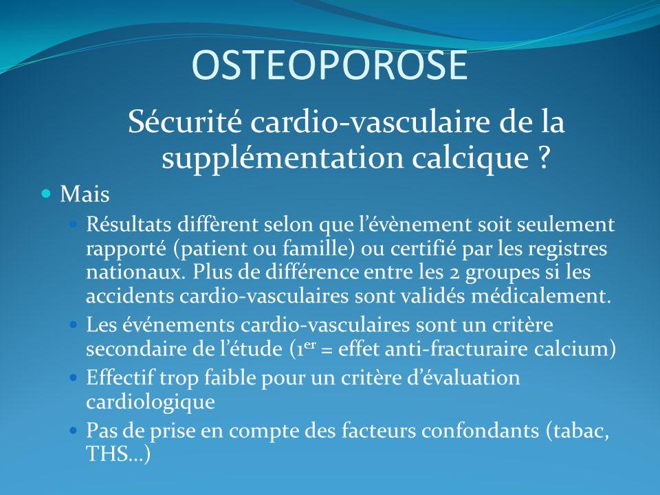 Sécurité cardio-vasculaire de la supplémentation calcique