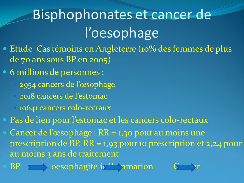 Bisphophonates et cancer de l'oesophage