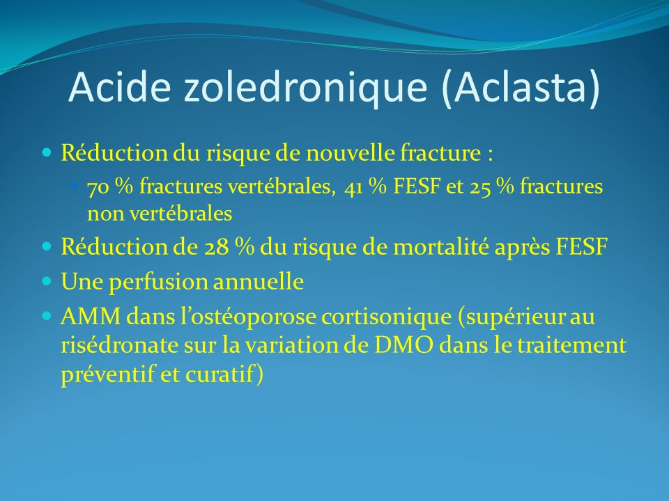 Acide zoledronique (Aclasta)