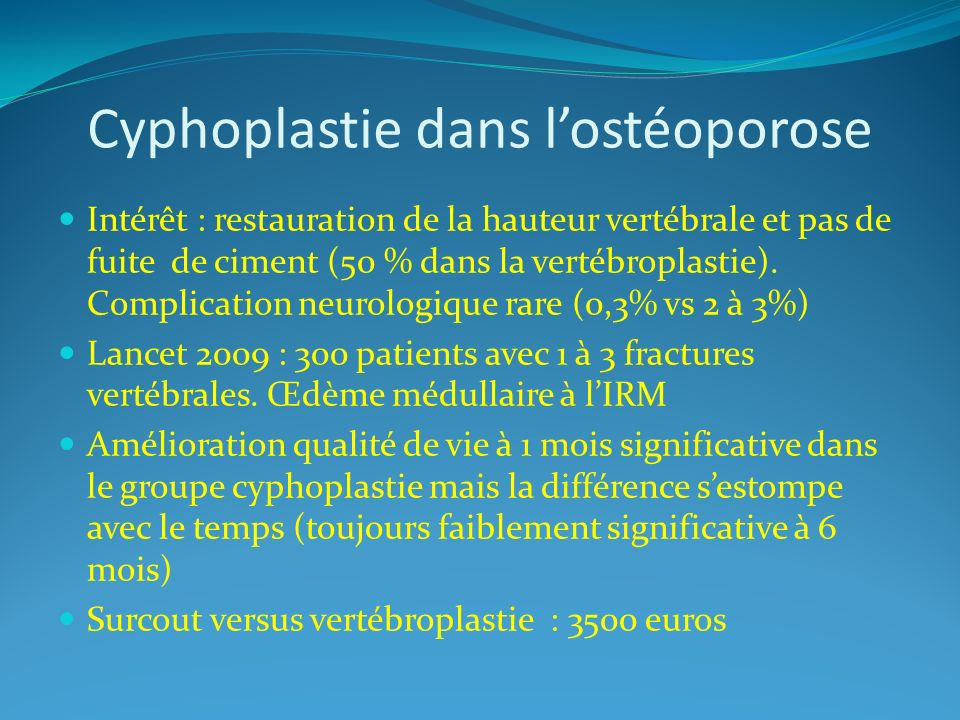 Cyphoplastie dans l'ostéoporose
