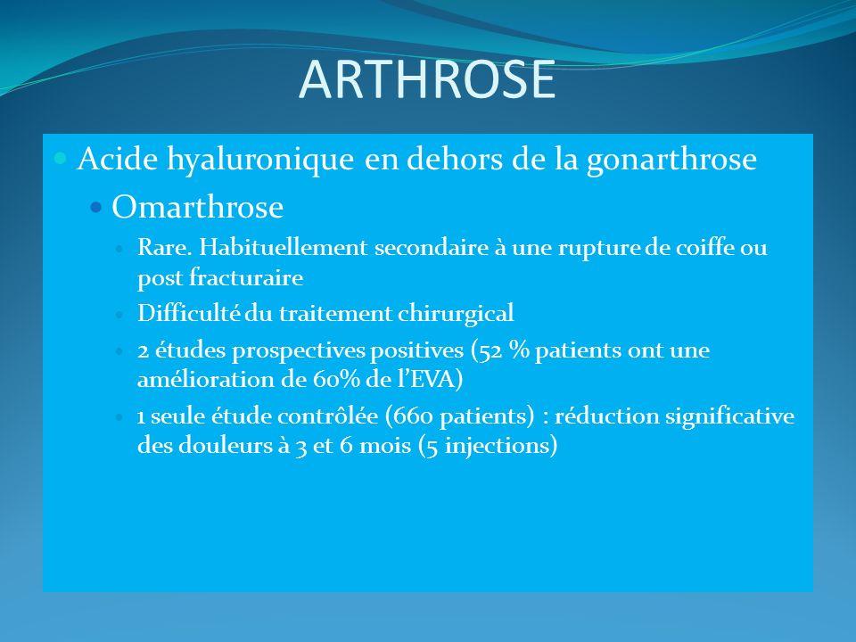 ARTHROSE Acide hyaluronique en dehors de la gonarthrose Omarthrose