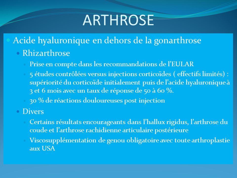 ARTHROSE Acide hyaluronique en dehors de la gonarthrose Rhizarthrose