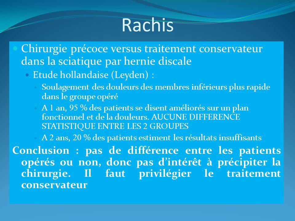 Rachis Chirurgie précoce versus traitement conservateur dans la sciatique par hernie discale. Etude hollandaise (Leyden) :