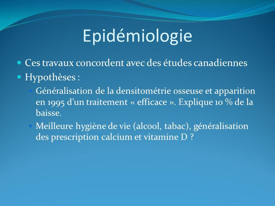 Epidémiologie Ces travaux concordent avec des études canadiennes