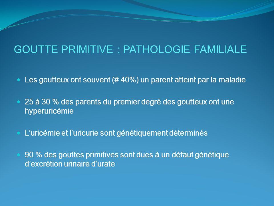 GOUTTE PRIMITIVE : PATHOLOGIE FAMILIALE