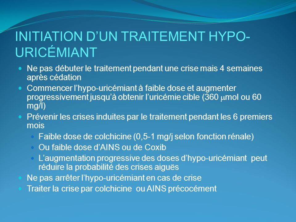 INITIATION D'UN TRAITEMENT HYPO-URICÉMIANT