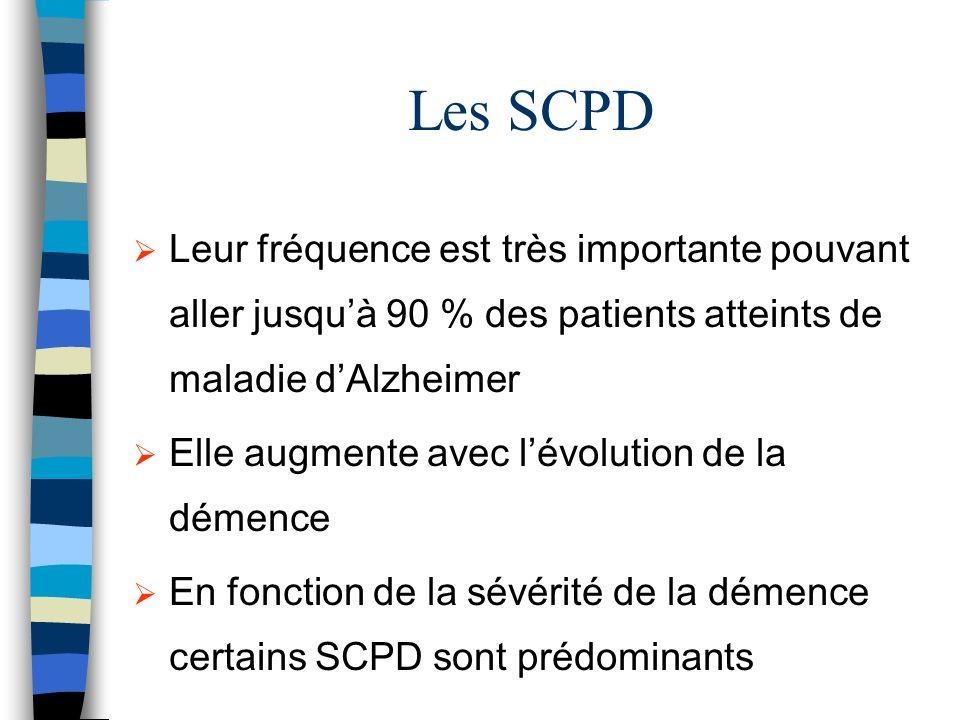 Les SCPD Leur fréquence est très importante pouvant aller jusqu'à 90 % des patients atteints de maladie d'Alzheimer.