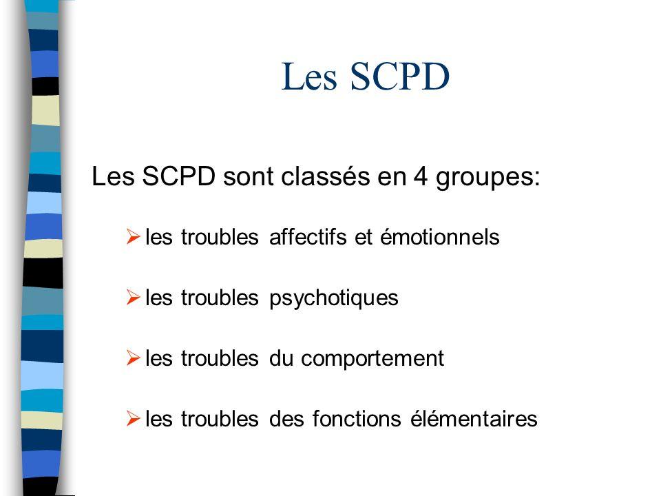 Les SCPD Les SCPD sont classés en 4 groupes: