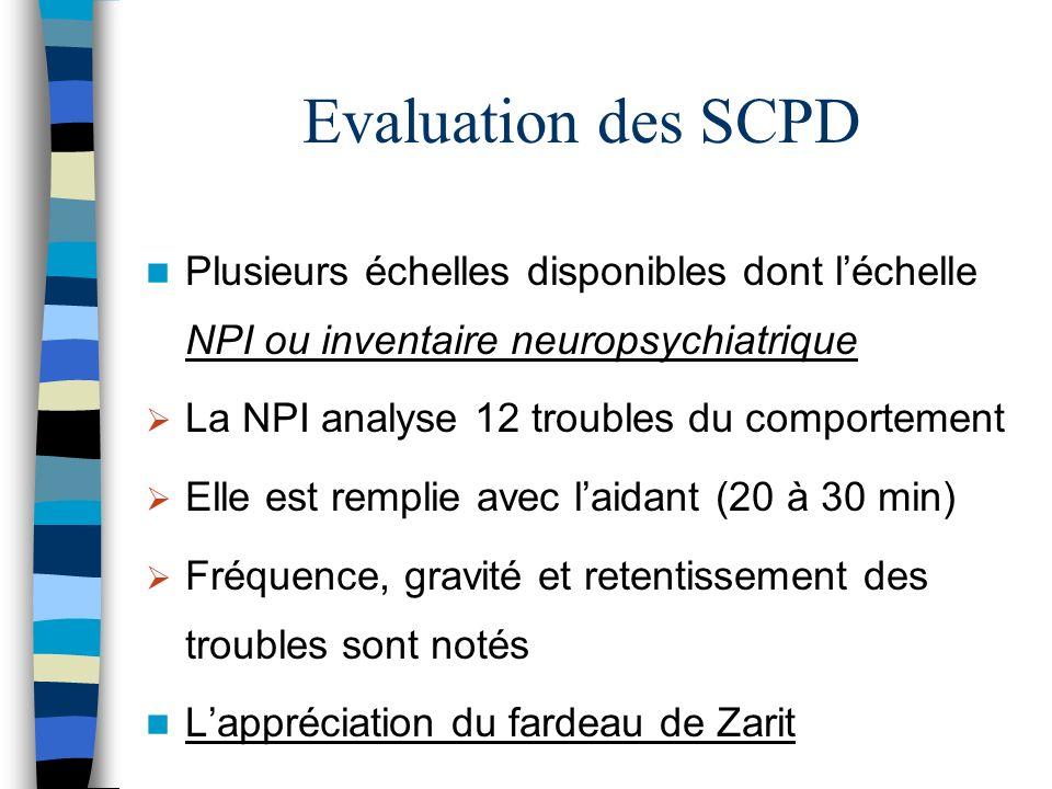 Evaluation des SCPD Plusieurs échelles disponibles dont l'échelle NPI ou inventaire neuropsychiatrique