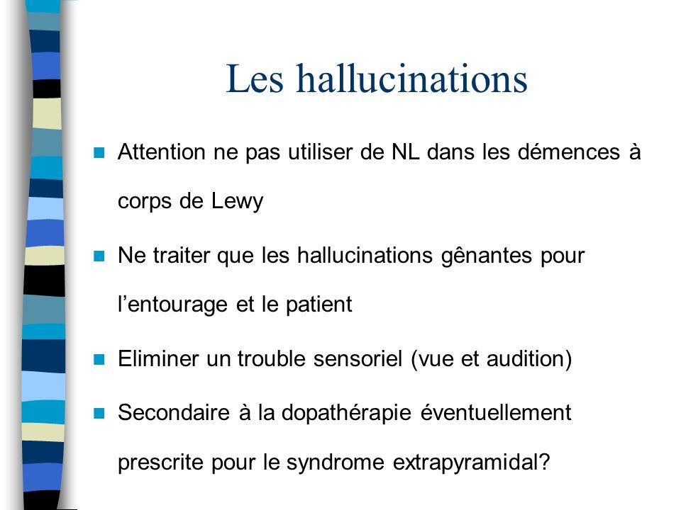 Les hallucinations Attention ne pas utiliser de NL dans les démences à corps de Lewy.