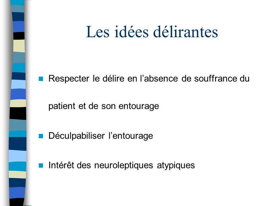 Les idées délirantes Respecter le délire en l'absence de souffrance du patient et de son entourage.
