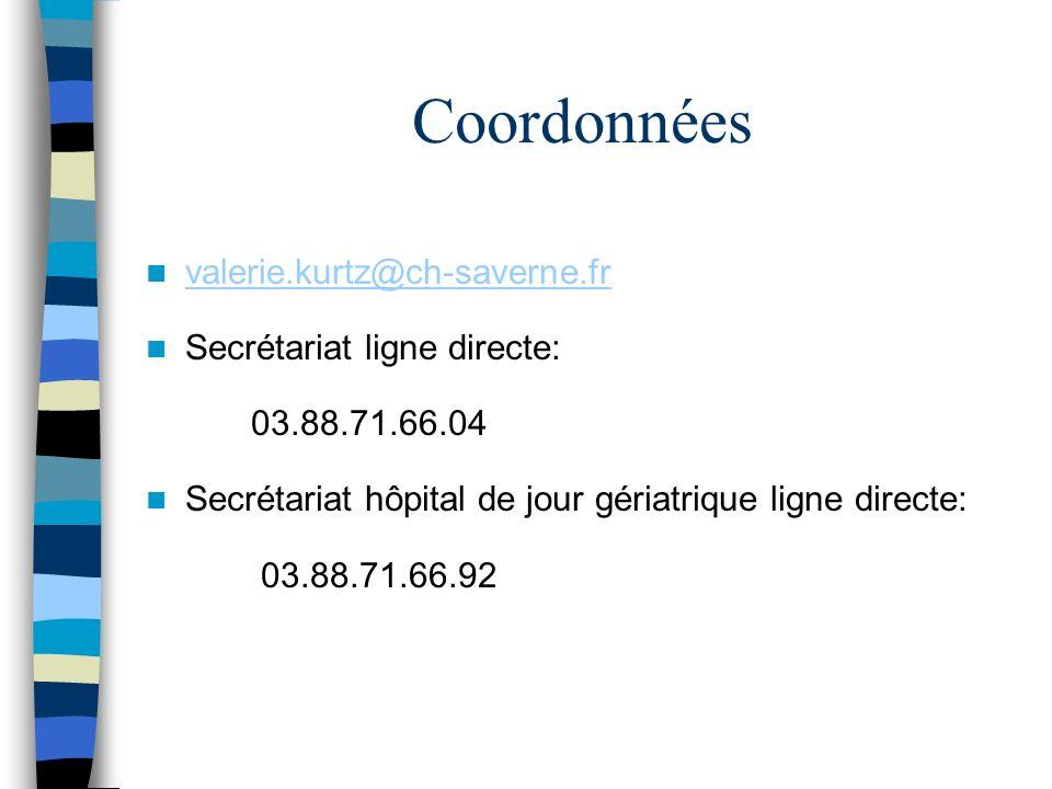 Coordonnées valerie.kurtz@ch-saverne.fr Secrétariat ligne directe: