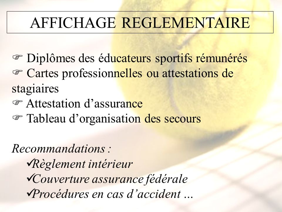 AFFICHAGE REGLEMENTAIRE